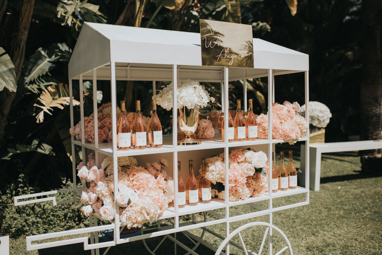 Drinks trolley Whispering angels wine wedding Marbella Finca La Concepcion