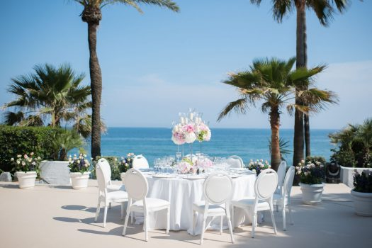 Table set up wedding next to the sea Marbella Club Hotel