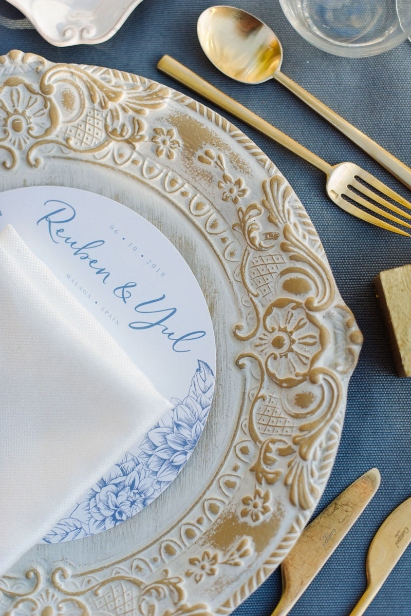 Florentine charger plates round printed menu gold cutlery
