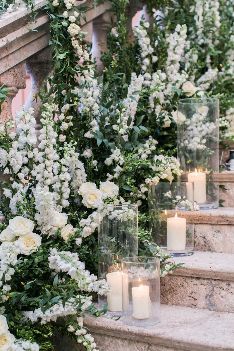 Staircase flower decoration wedding Marbella Anantara Villa Padierna