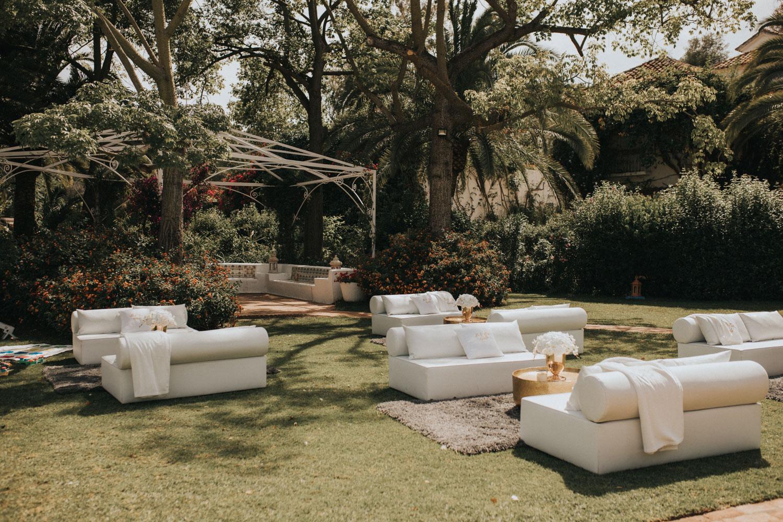 White chill out with gold tables Finca La Concepcion