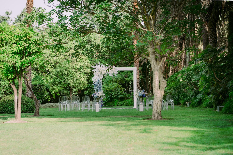 Ombre style flower decoration wedding ceremony Molino del Duque Marbella