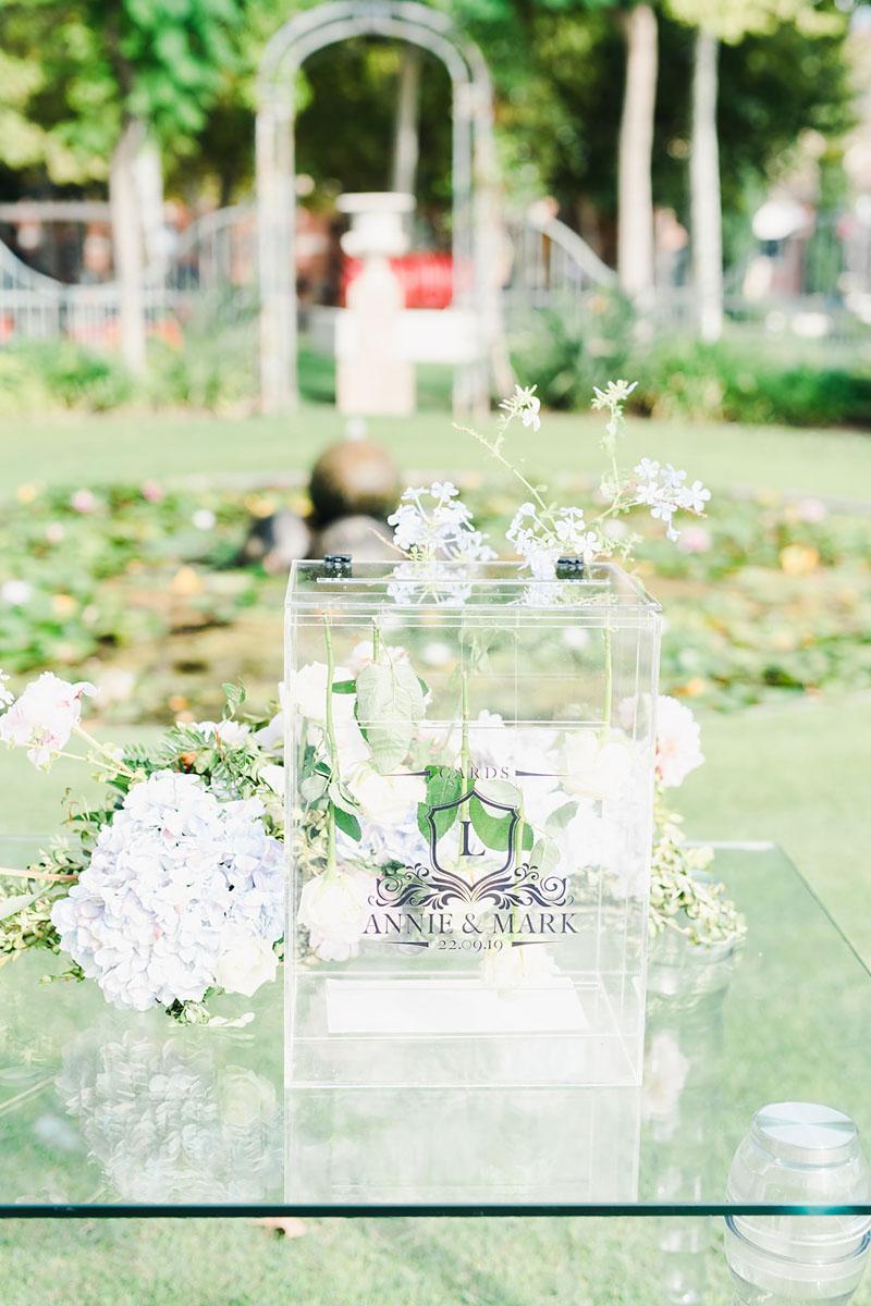 Card box perspex wedding Anantara Villa Padierna