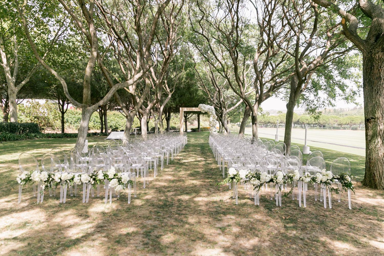 Ceremony set up wedding celebration Sotogrande Cancha II