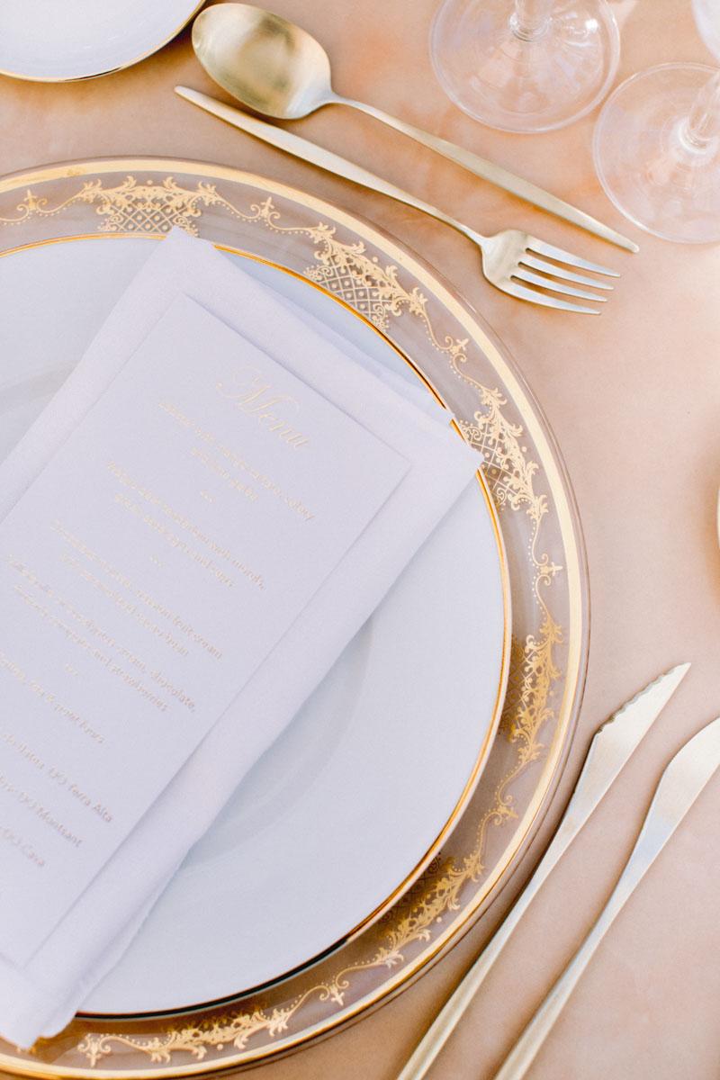 Gold tableware wedding Barcelona Bell Reco