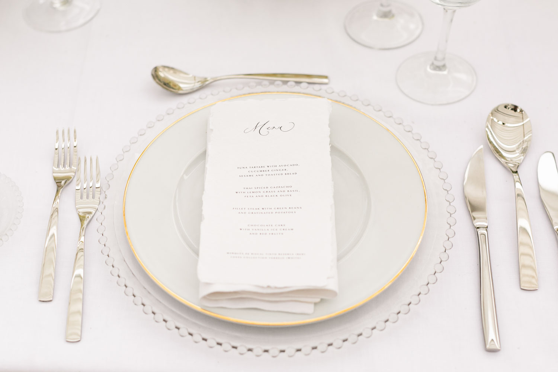 Tableware wedding silver cutlery printed menu Sotogrande