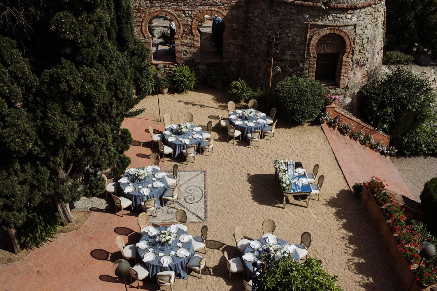 Table lay out wedding intimate Malaga Castillo de Santa Catalina