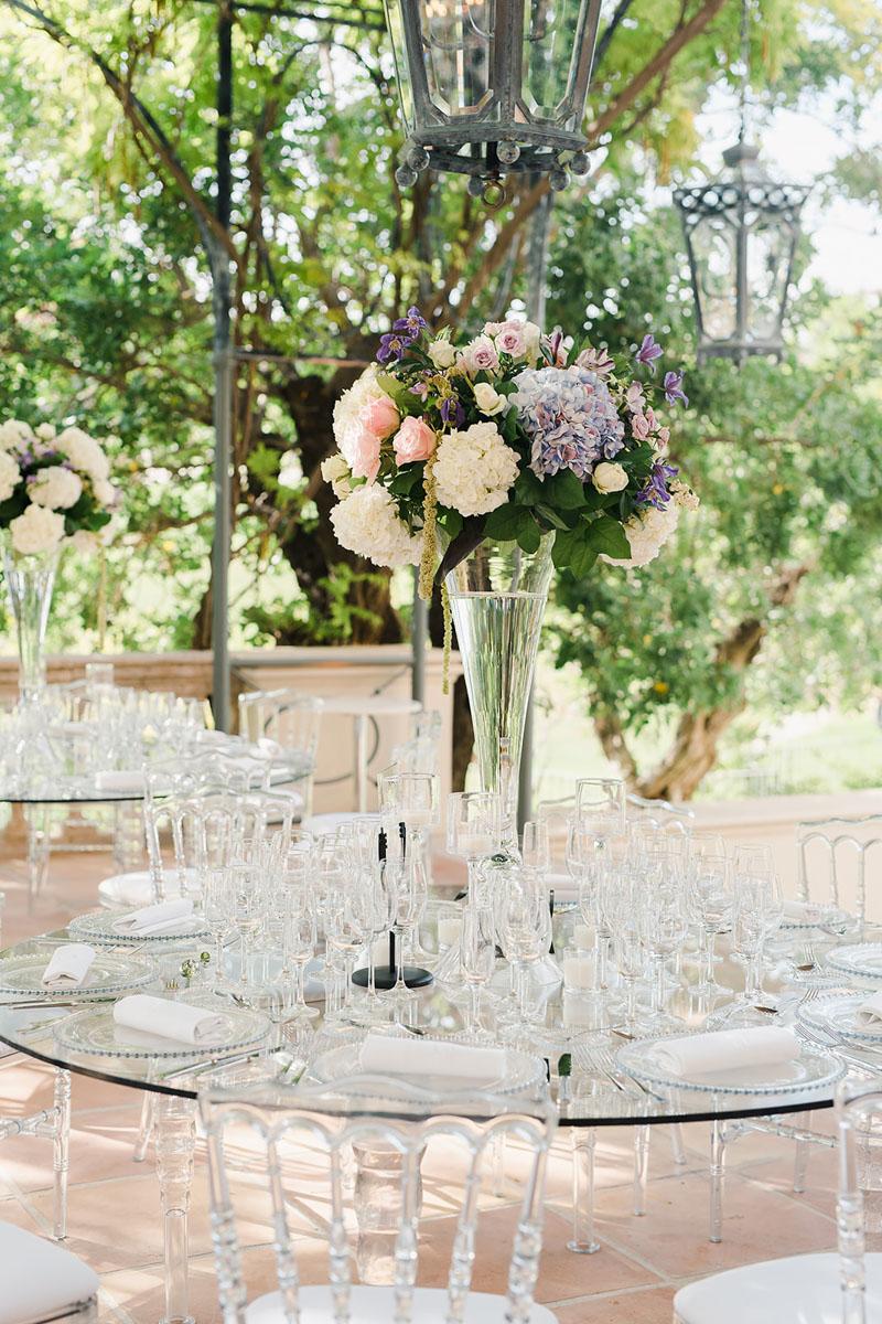 Perspex table with transparent chairs Anantara Villa Padierna