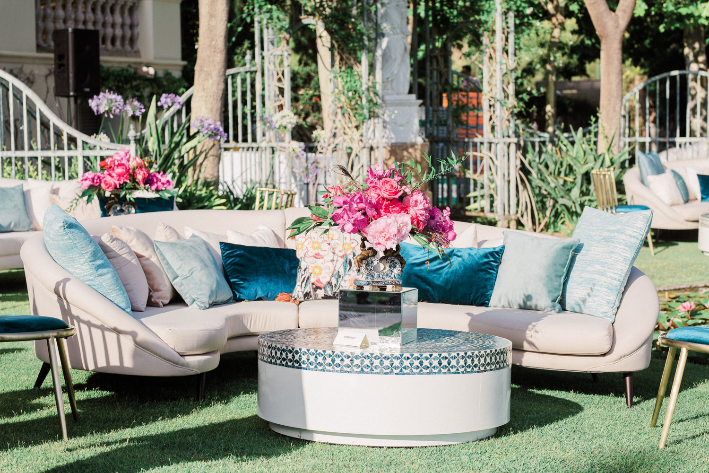 Chill out furniture reception drinks wedding Anantara Villa Padierna