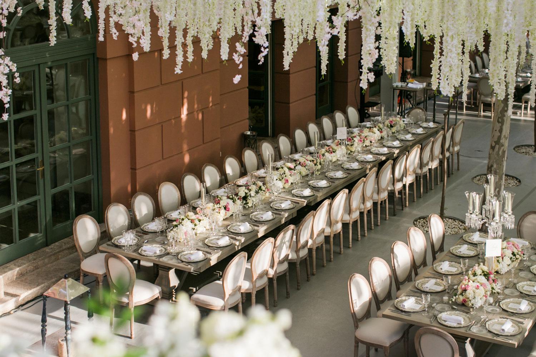 long table wood wedding set up flowers Marbella Anantara Villa Padierna