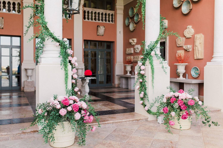flower pots entrance hotel wedding Anantara Villa Padierna