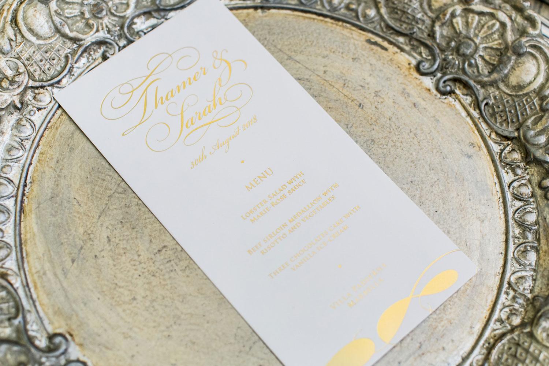 Gold foil printed menu wedding Marbella