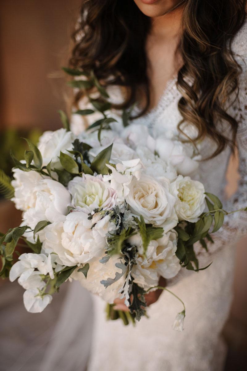 Bridal bouquet white wedding Castillo de Santa Catalina