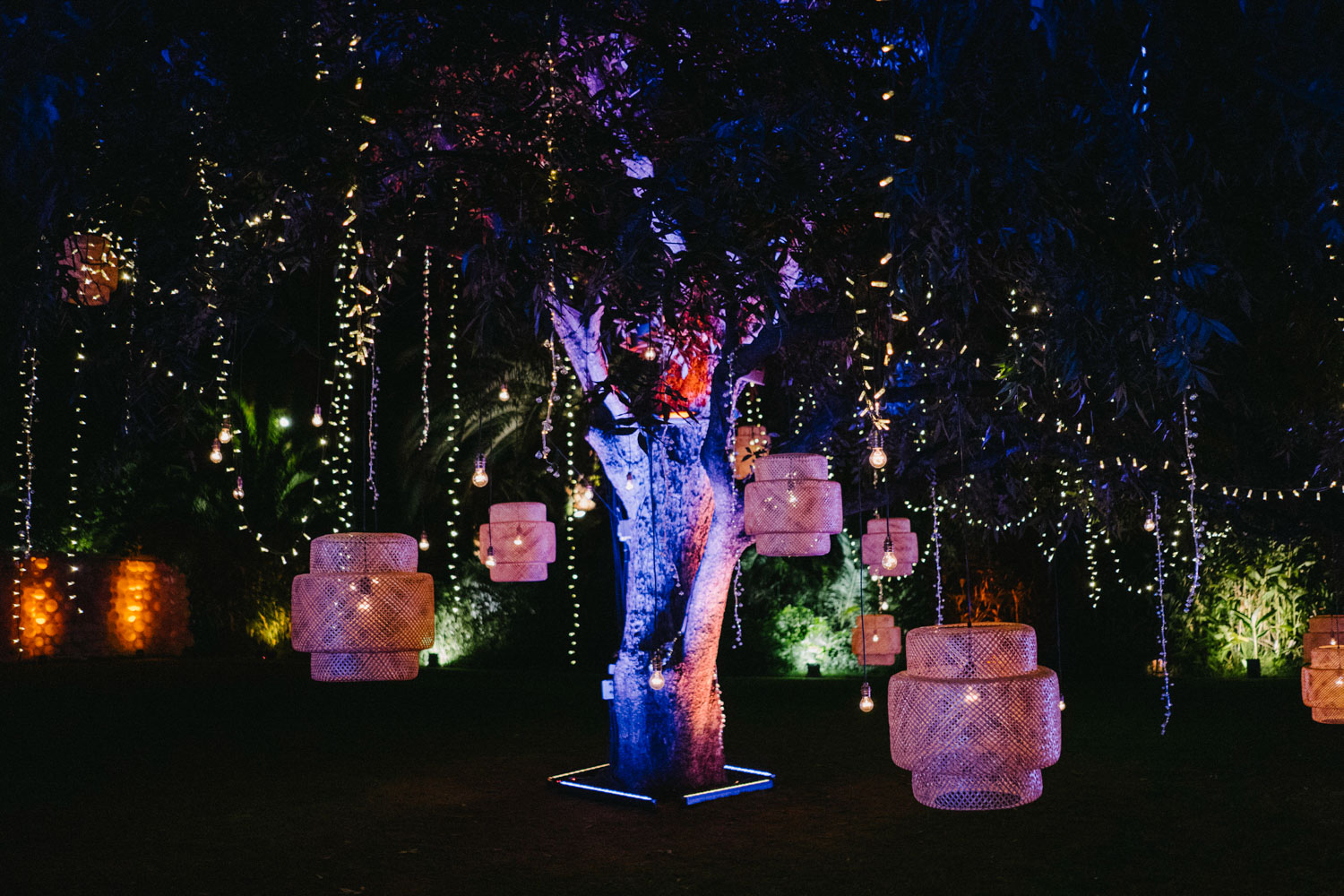 tree decoration with lamps and fairy lights