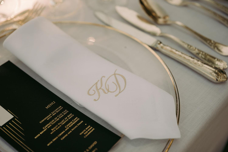 Napkin with wedding monogram and printed menu