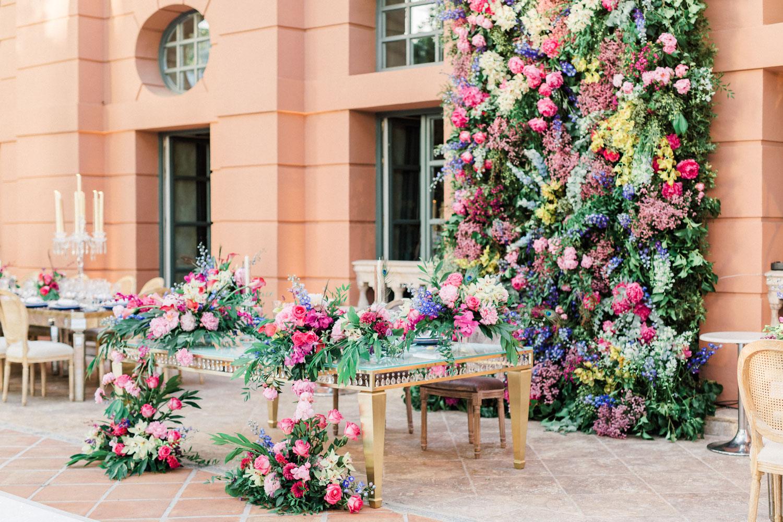 top table flower wall decoration wedding linares terrace Anantara Villa Padierna