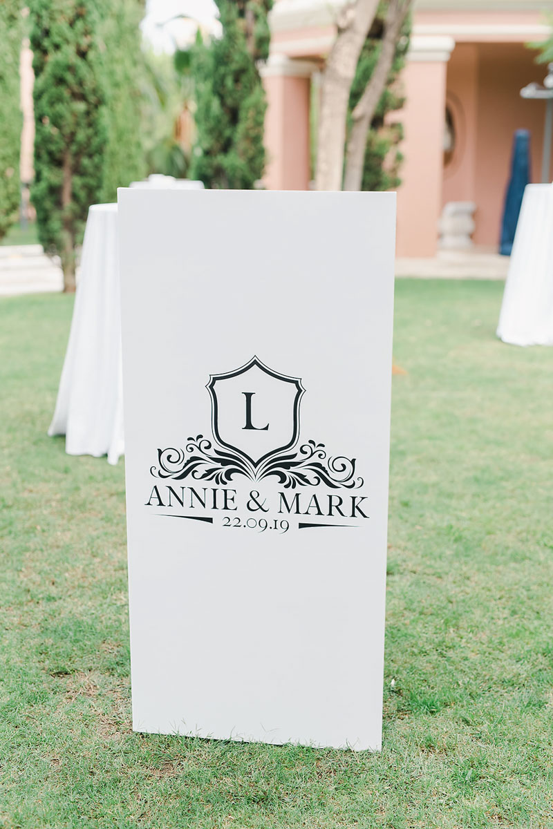 Welcome sign black and white wedding Anantara Villa Padierna