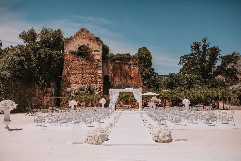 Ceremony set up wedding Tiffany chairs Finca La Concepción