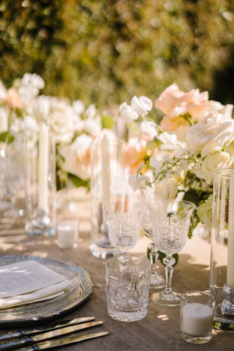 Engraved glasses and silver cutlery wedding Marbella Marbella Club Hotel