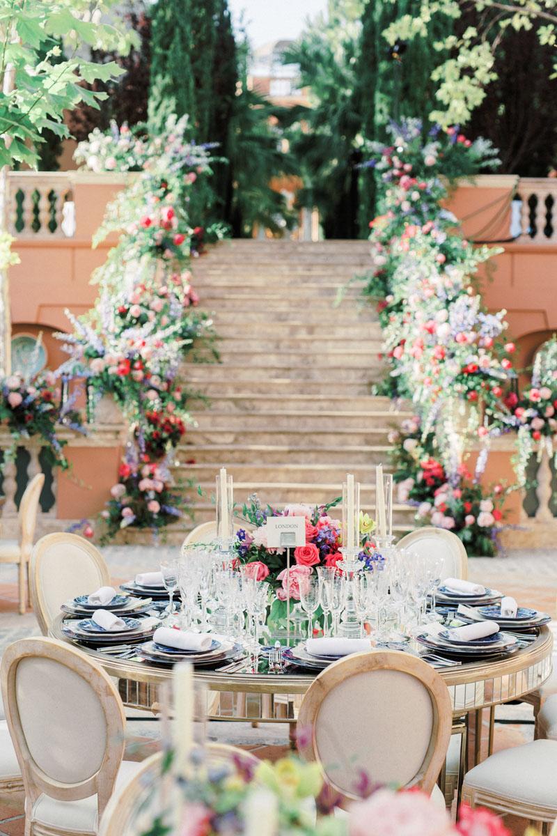 Mirror table bright colours wedding flower decoration Anantara Villa Padierna