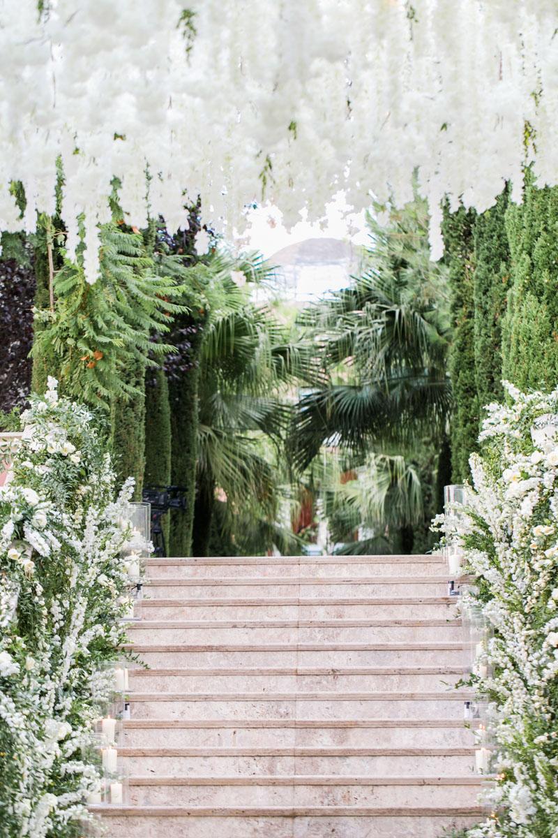 Staircase flower decoration wedding Anantara Villa Padierna